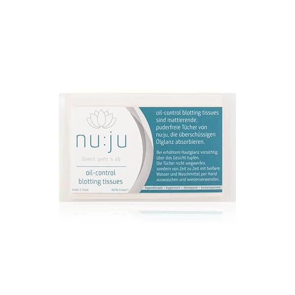 nu:ju® Beauty nu:ju Oil-control blotting tissues, silver-ionised | 5 pieces in a case