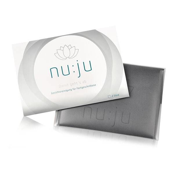 nu:ju® Beauty nu:ju Microfibre facial cleansing cloth 2in1 made of Evolon®, silver-ionized | 2 cloths incl. travel case