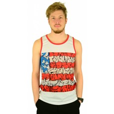 Famous Stars and Straps Slick Flag Tank Top White/Red