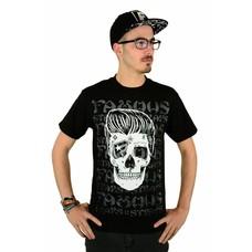 Famous Stars and Straps Pompadour Skull T-Shirt Black