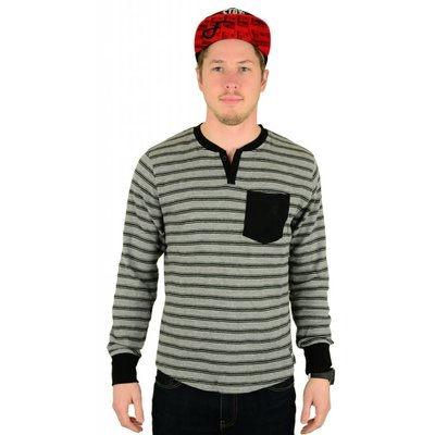 Famous Stars and Straps Chain Gang Henley Heather Grey / Black