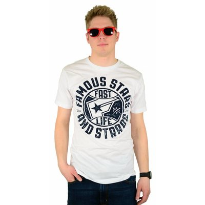 Famous Stars and Straps Bad News Crew Premium T-Shirt White/Navy