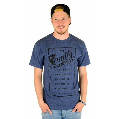 Famous Stars and Straps Family Rectangle T-Shirt Denim Heather