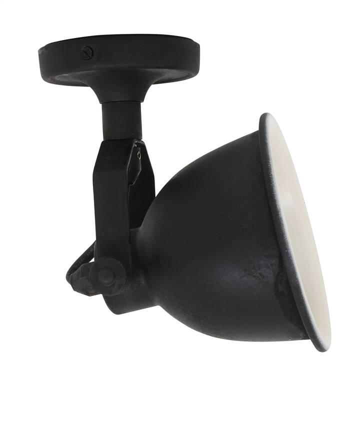 Wandlamp spotje maxim cover antiek mat zwart puur for Industriele spots