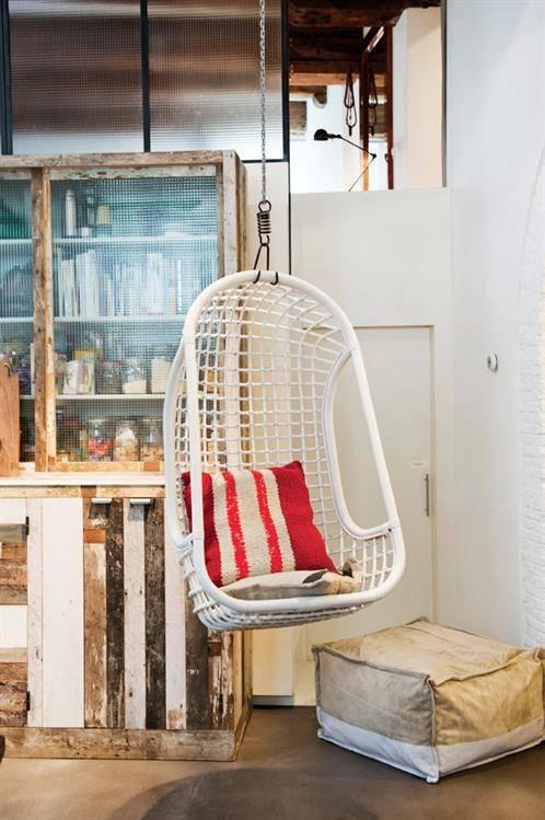 Voorkeur HK Living hangende rotan stoel - Wit - Puur Basic Interieur #MT95