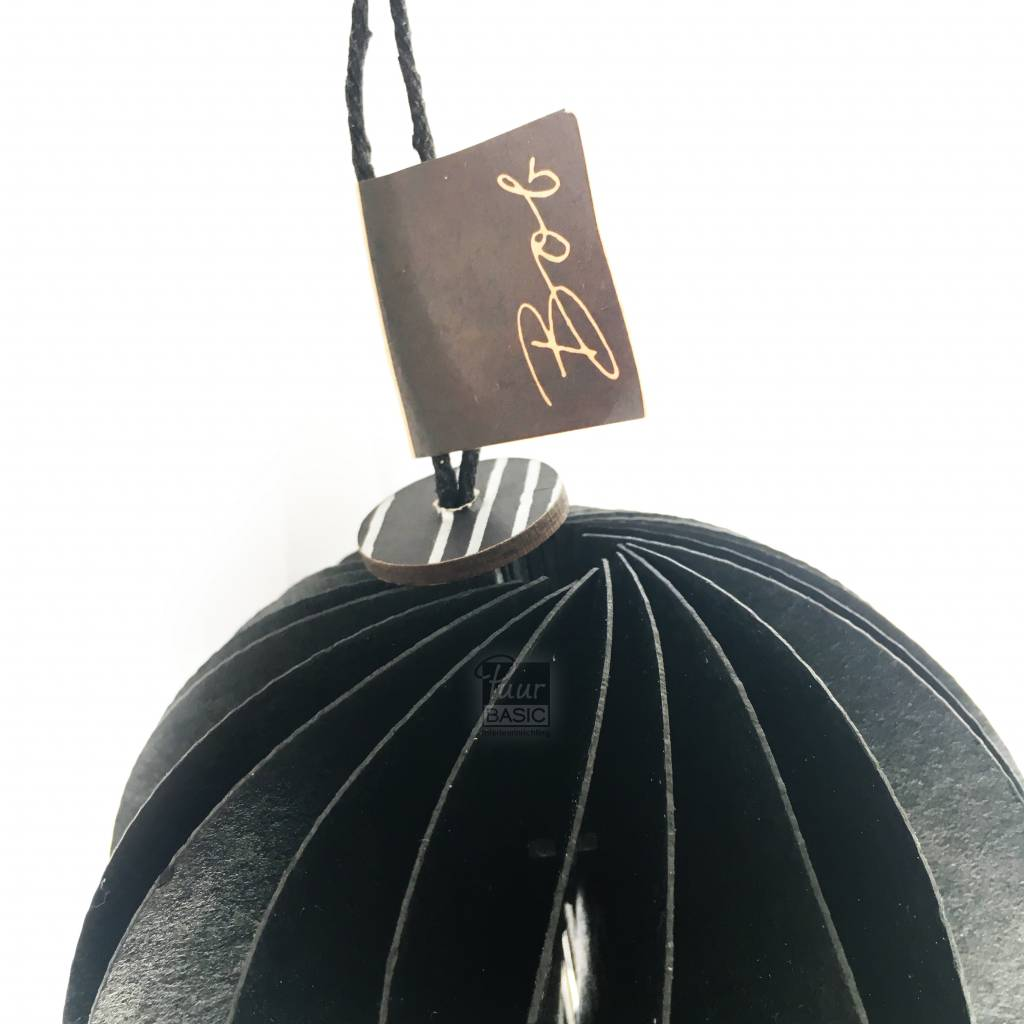 Bob Design Bob design - Kerstbal papier - Zwart 6 stuks