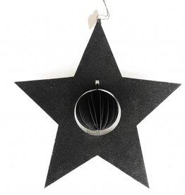 Bob Design Kerstster met bal papier - Zwart