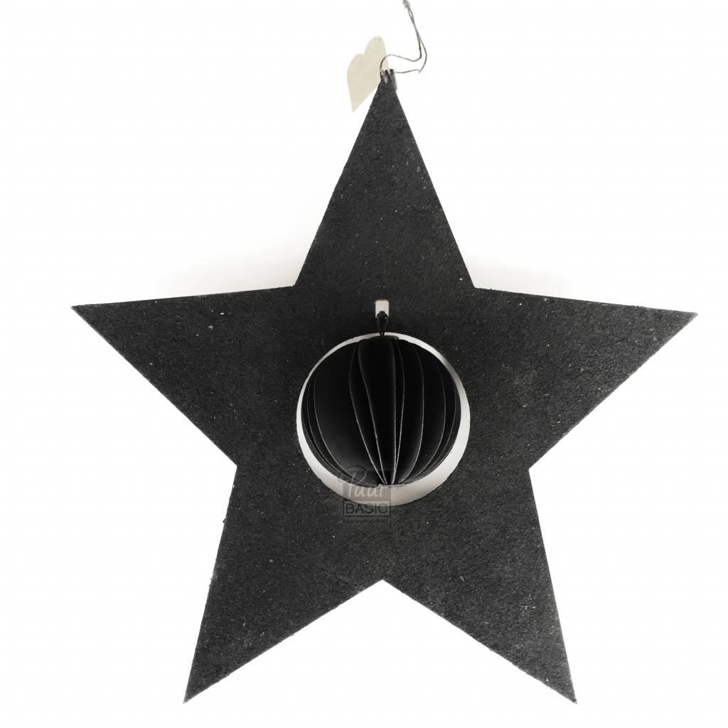 Bob Design Bob design - Kerstster met bal papier - Zwart