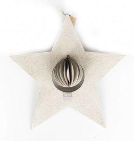 Bob Design Kerstster met bal papier - Créme