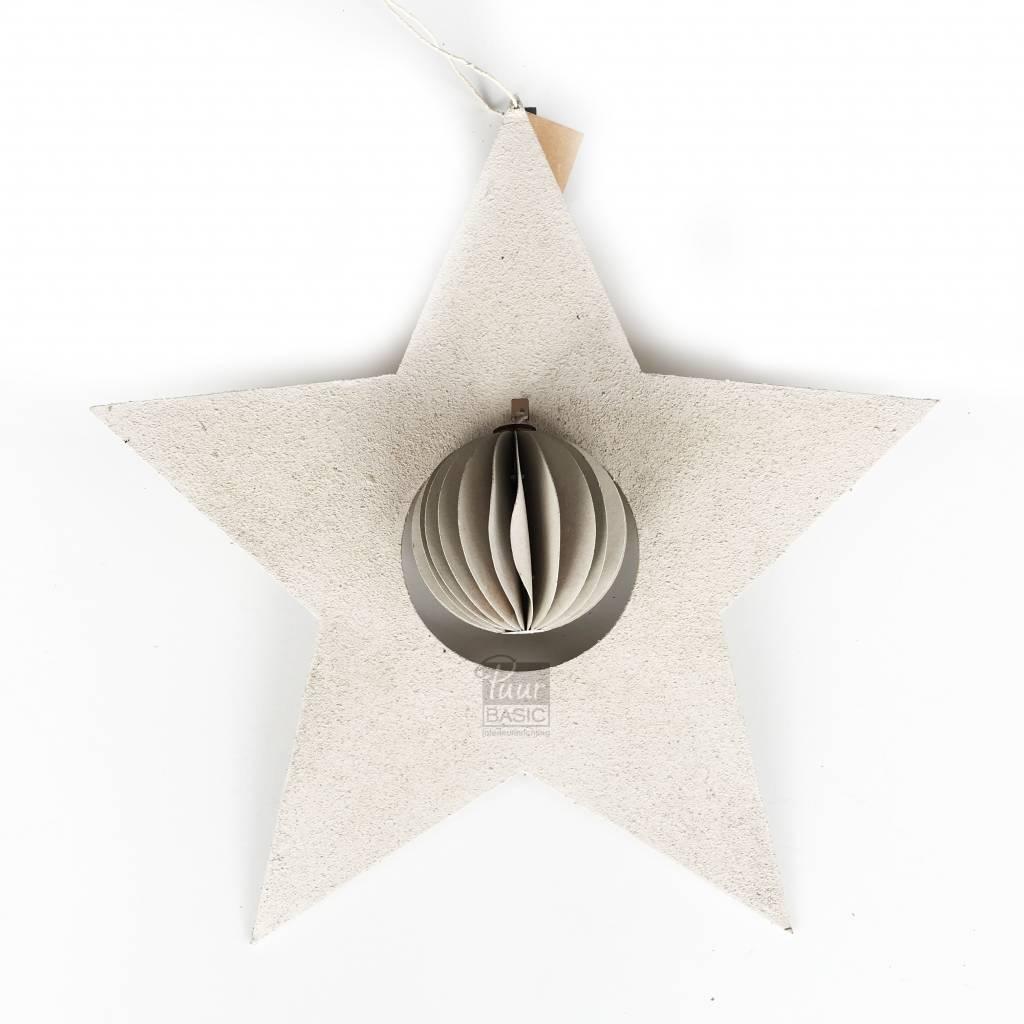 Bob design - Kerstster met bal papier - Créme