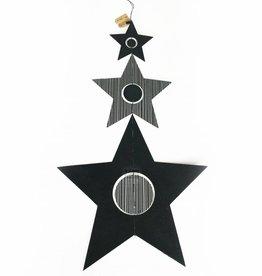 Kerstster decoratie hanger - Zwart