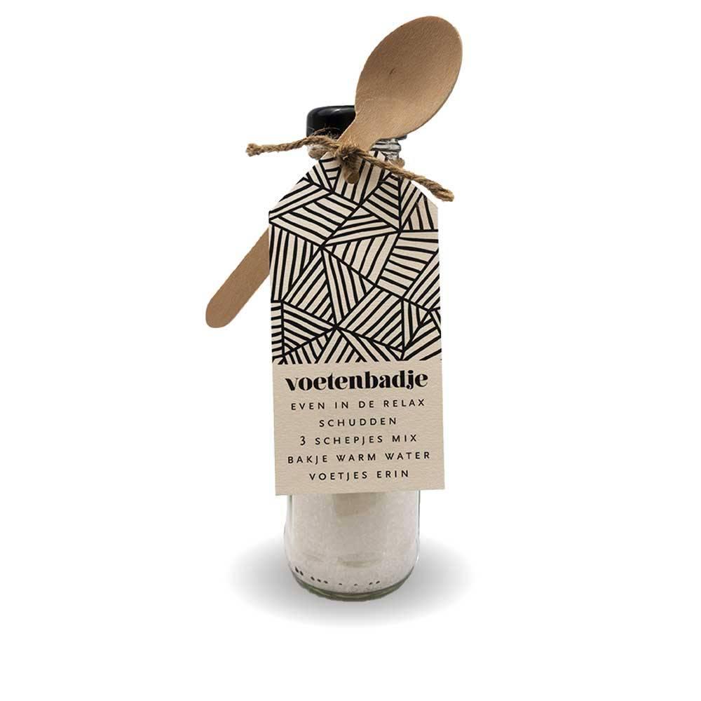 Cadeau flesje met badzout - Voetenbadje