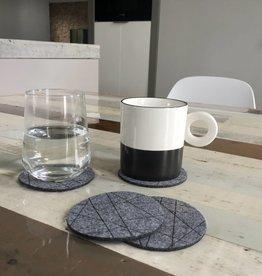 Puur Basic Home selection Grijze vilten onderzetters voor glazen