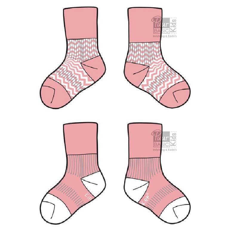 KipKep Blijf-sokken Roze  0-6 maanden of 6-12 maanden