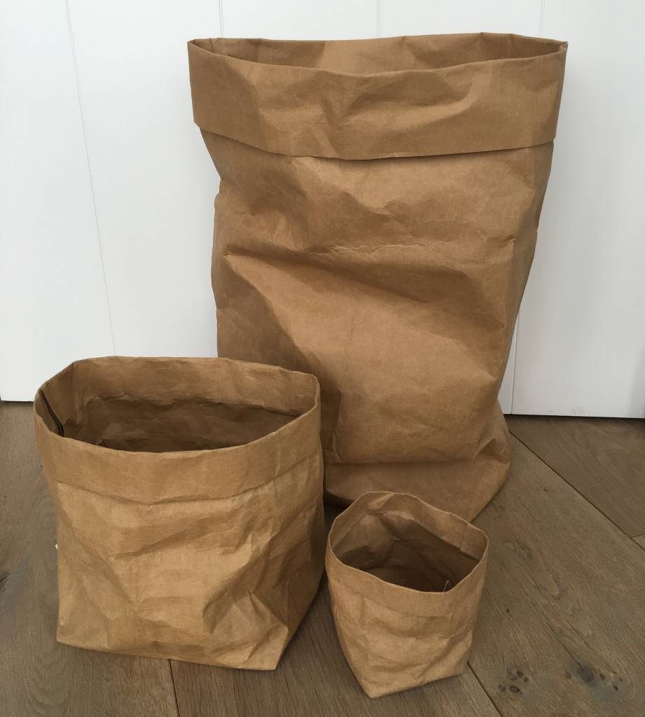 Puur Basic Home selection Opbergmand paperbag Zwart - diverse maten