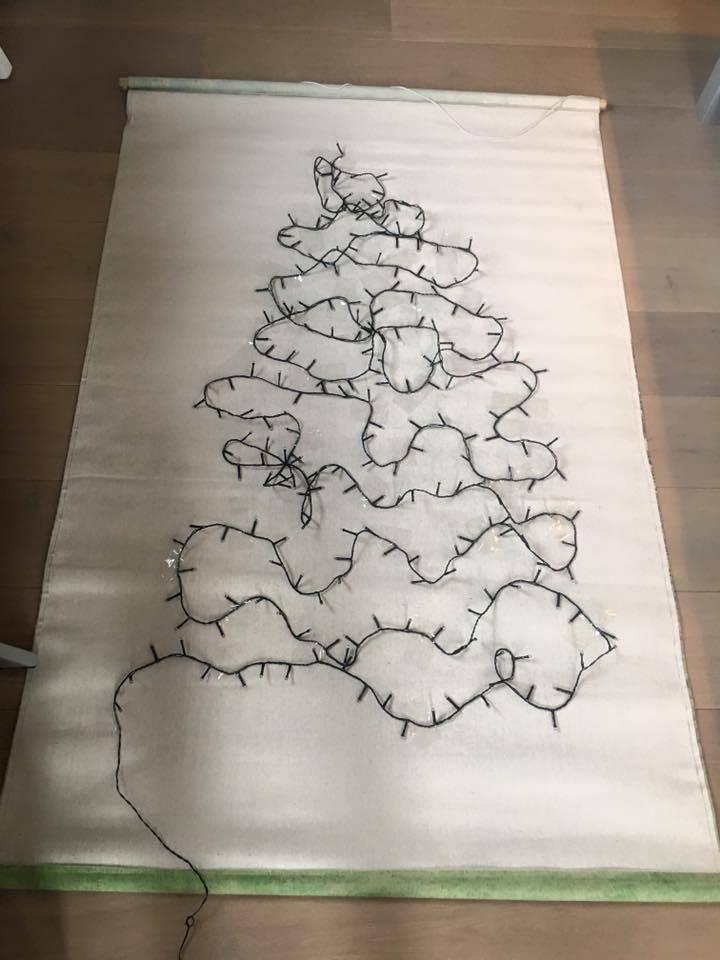 Hk Living HK living Kerst muurdecoratie, schoolplaat canvas Kerstboom XL