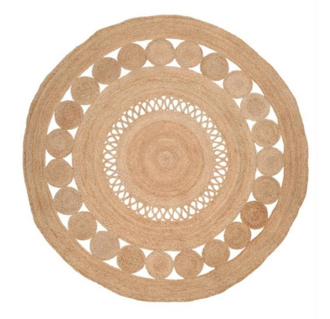 Yoshiko Home Yoshiko Home Vloerkleed Hatiya rond naturel Jute