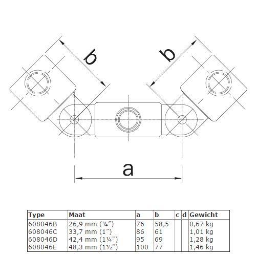 BUISKOPPELING 046 - Dubbel scharnierstuk