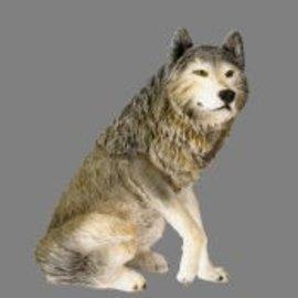 Wolf zittend 65 x 60 x 40 cm grijs/wit