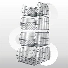 Stapelbare halve metermand 35 x 48 x 23 cm afwerking: zink