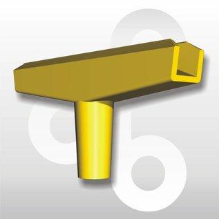 T-stuk voor kaartraam geel 90 mm