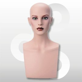 Hoofd Isabelle voor pruik 50 cm naturel met make-up