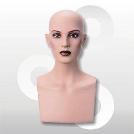 Hoofd Isabelle voor pruik 45 cm naturel met make-up