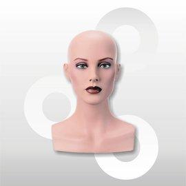 Hoofd Isabelle voor pruik 35 cm naturel met make-up