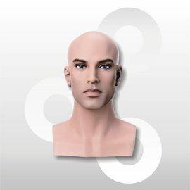 Hoofd Vincent voor pruik naturel met make-up 35 cm
