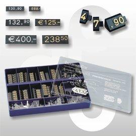 Prijsdoos Compact MAXI zwart/goud cijferhoogte 9,2 mm