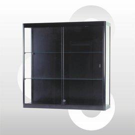 Wandvitrine 100 x 30 x 100 geanodiseerd zwart