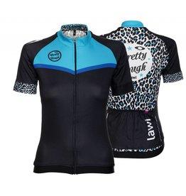 Dames Fietsshirt korte mouw Pretty Tough leopard