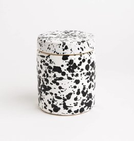 Splatterware Black on White Small Jar