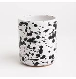 Splatterware Black on White Mug without handle 8 x 9 cm