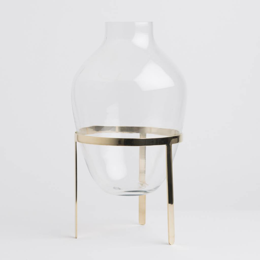 Nordstjerne Glass & Shiny Brass Stand Vase