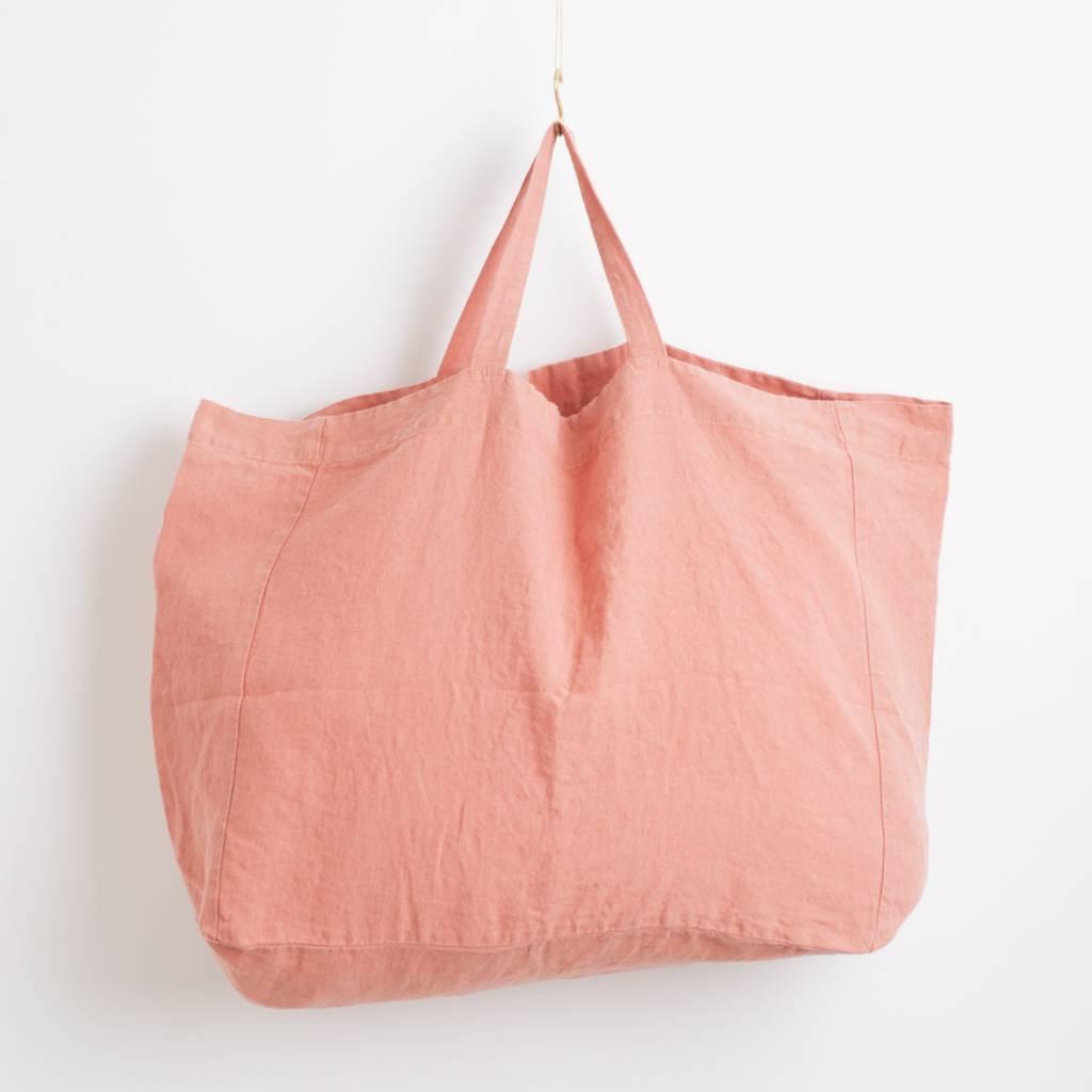 Linge Particulier  Linge Particulier Large Bag Peche Washed Linen