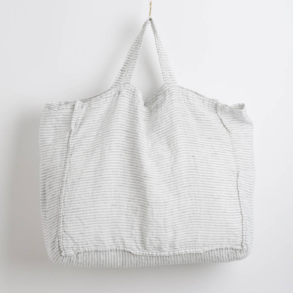 Linge Particulier  Linge Particulier Large Bag White & Black Pyama Striped Washed Linen