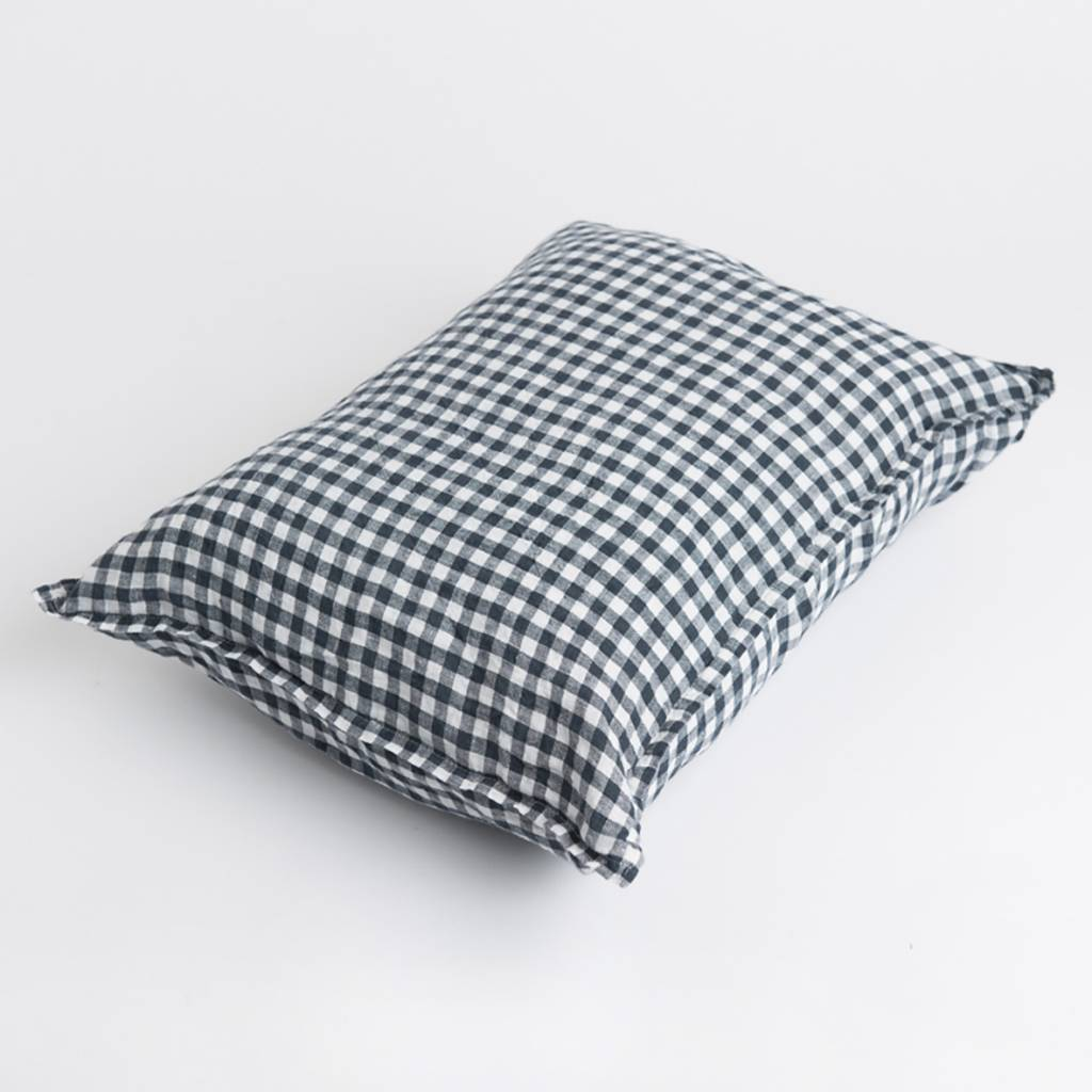 Linge Particulier  Linge Particulier Cushion Cover Anthracite Gingham Washed Linen 35x45 cm