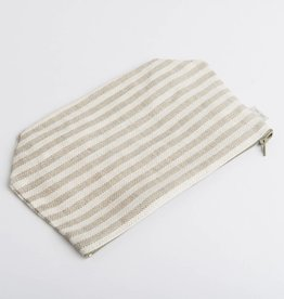 Fog Linen  Natural Striped Pouch