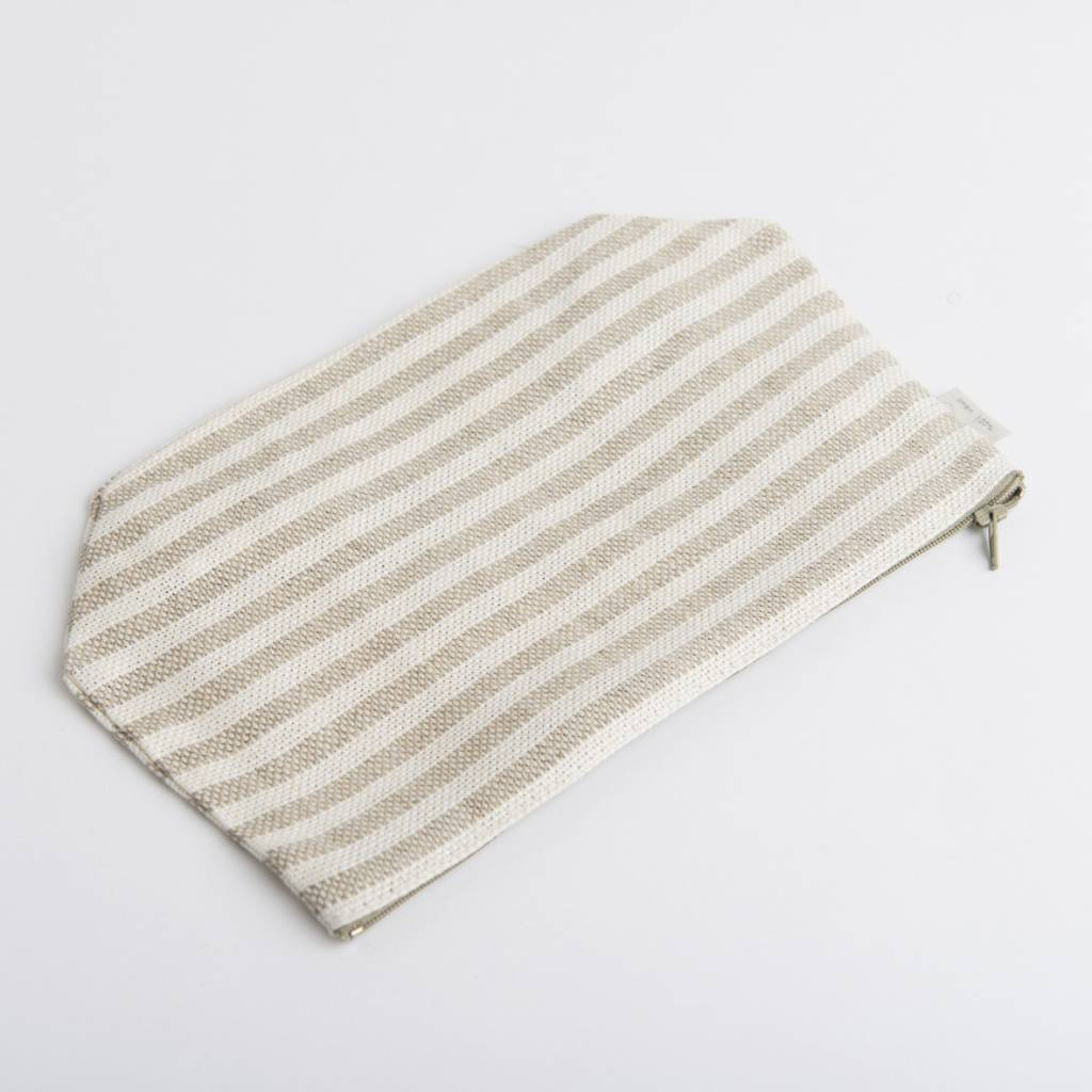 Fog Linen  Fog Linen Natural Striped Linen Fred Pouch