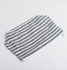 Fog Linen  Navy Striped Pouch