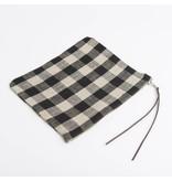 Fog Linen  Fog Linen Black & Natural Check Linen Canna Pouch