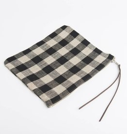 Fog Linen  Checked Canna Pouch
