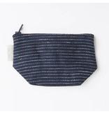 Fog Linen  Fog Linen Navy Pin Striped Linen Tim Pouch