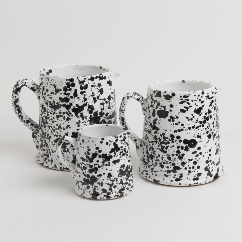 Splatterware Speckled Black on White Glazed Earthenware Pitcher 2 liter