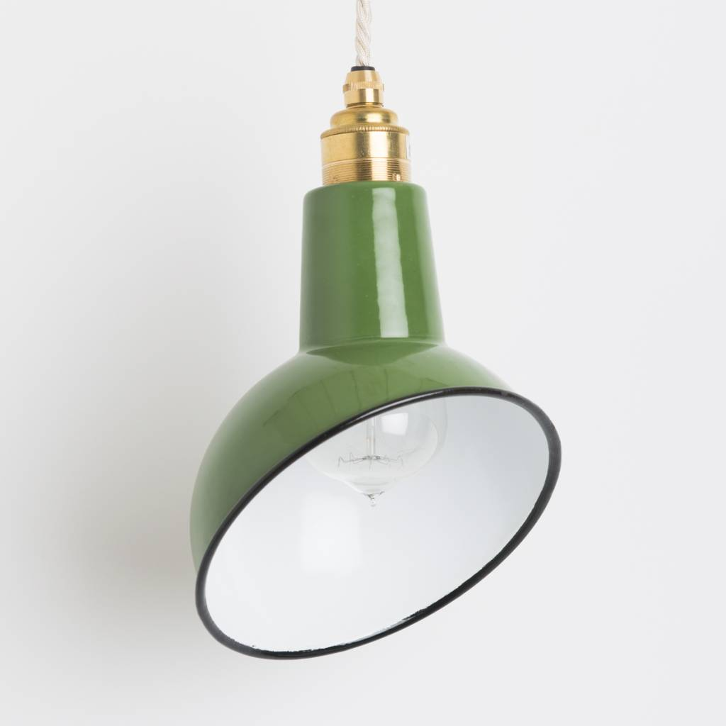 Nook London Enamel Miniature Green Angled Cloche Lamp