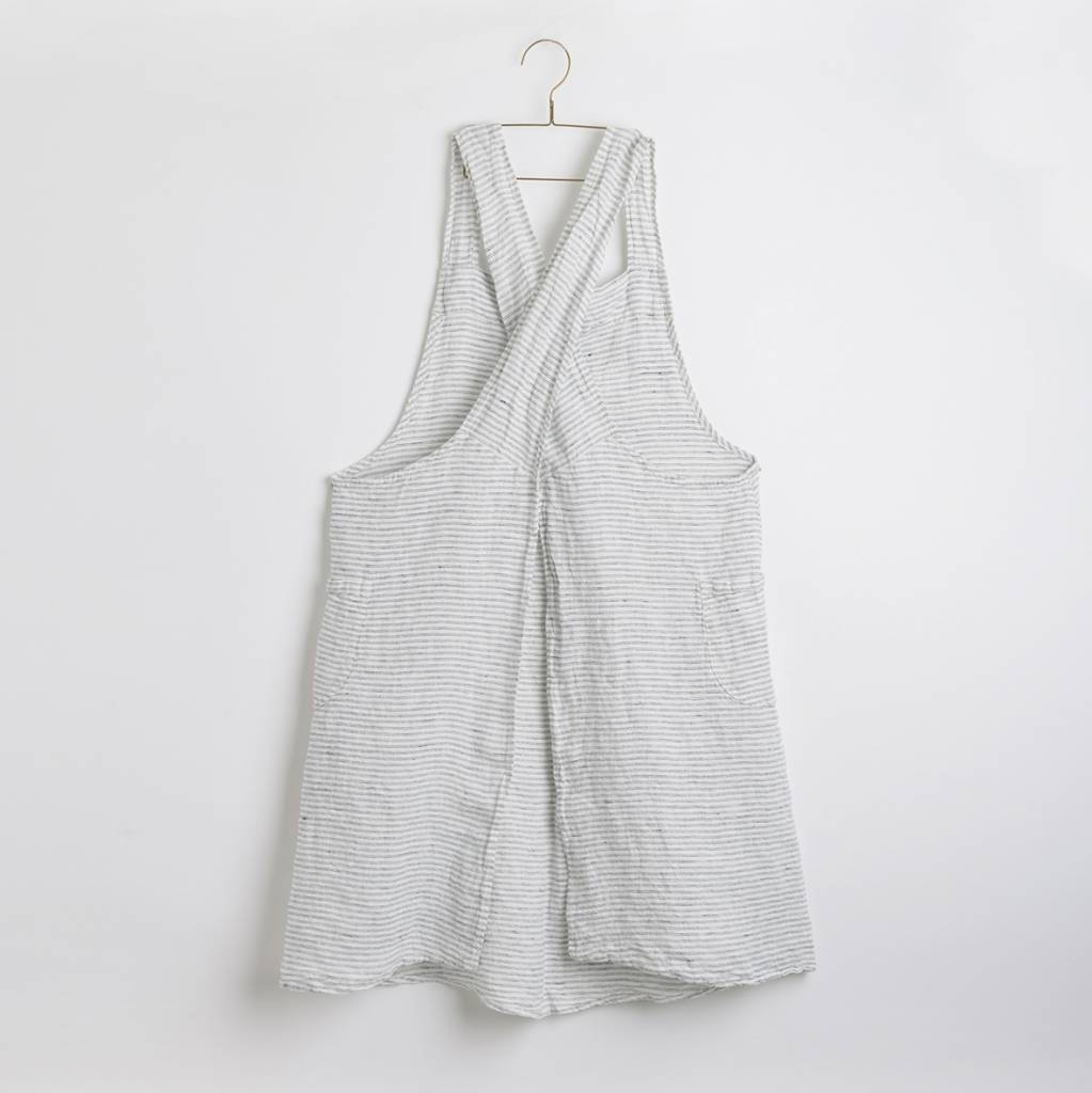 Linge Particulier  Linge Particulier Japanese Apron Black and White Washed Linen