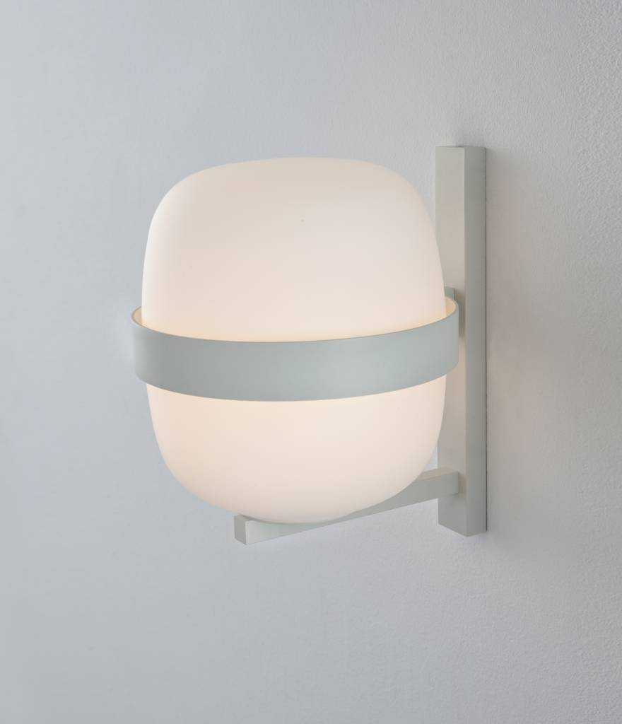 Santa Cole Santa Cole White Metal and Opal Glass Wally Wall Lamp