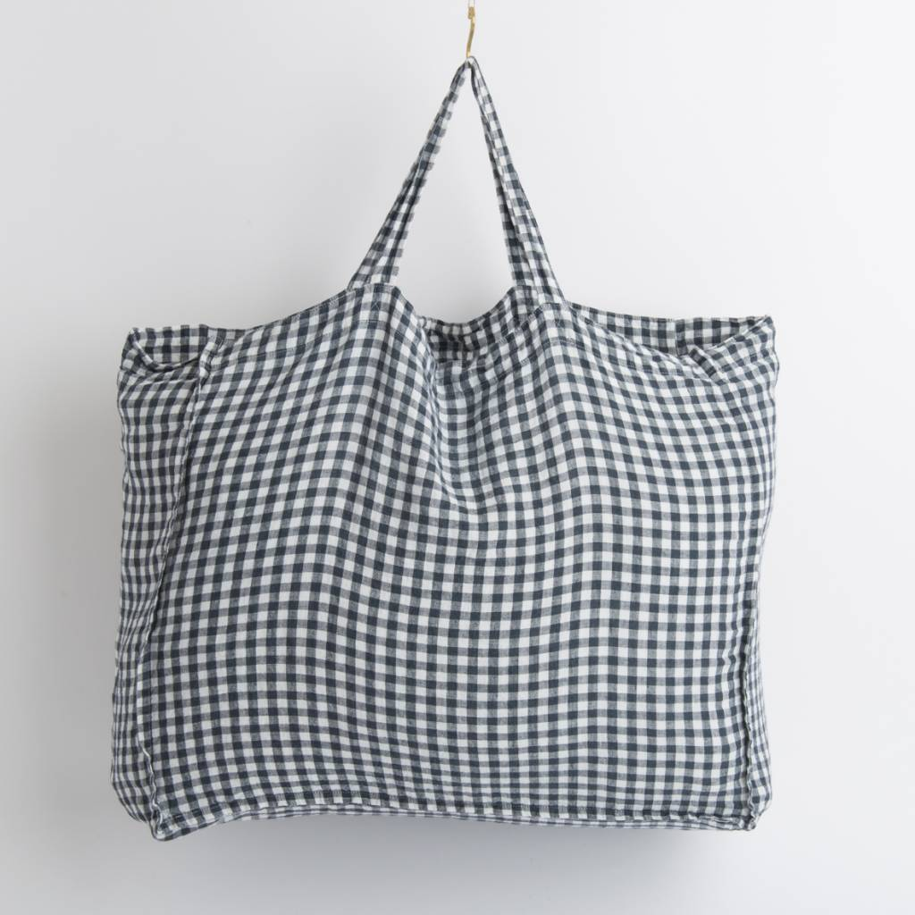 Linge Particulier  Linge Particulier Large Bag Anthracite Gingham Washed Linen