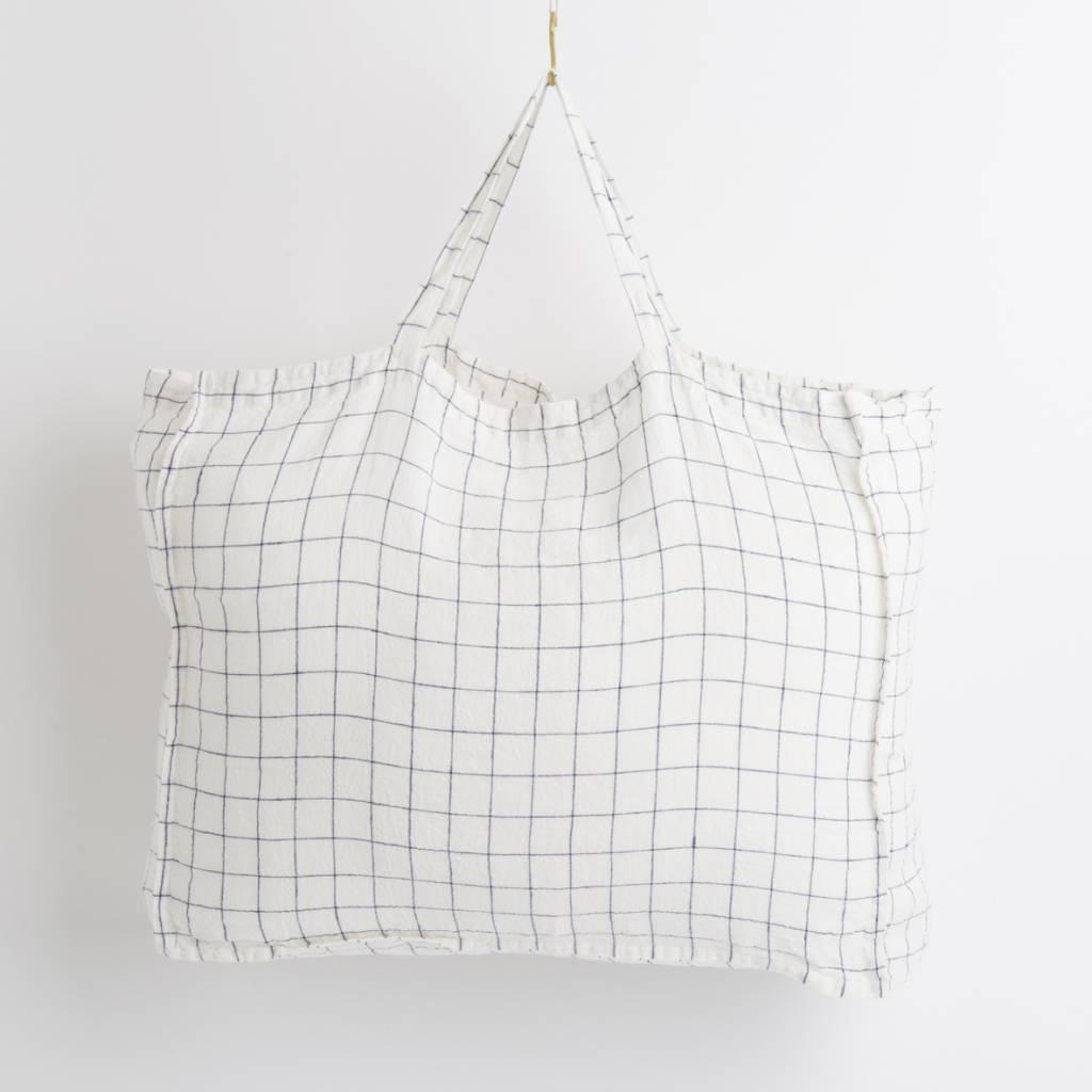 Linge Particulier  Linge Particulier Large Bag XL Navy & White Checks Washed Linen